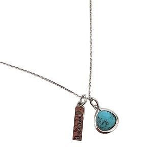 Turquoise pendant with dream charm, rhodium plated